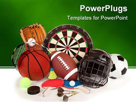 PowerPoint template displaying a collection of a number of sports item, from football to basketball