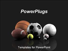 PowerPoint template displaying sports balls over a grey background. Ideal for presentations on sports club, sports game, etc in the background.