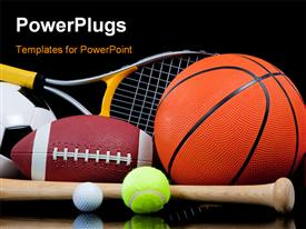 PowerPoint template displaying group of sports equipment on black background including tennis basketball baseball American football