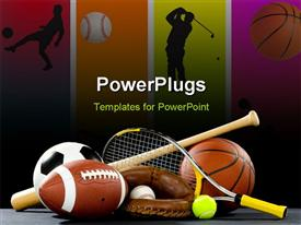 PowerPoint template displaying variety of sports equipment on a black background including an American football a soccer ball