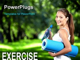 PowerPoint template displaying a beautiful girl after jogging with greenery in the background