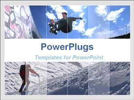PowerPoint template displaying a teen ager skateboarding and a person climbing a mountain