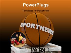 Basket-ball on sport newspaper - 3D rendering powerpoint design layout
