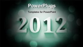 PowerPoint template displaying figures 2012 on an abstract background (close up)