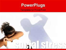 PowerPoint template displaying violent man hitting frightened woman, social stress concept