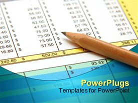 PowerPoint template displaying sharpened pencil on spreadsheet, pencil on financial papers, accounting and financial theme
