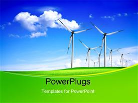 PowerPoint template displaying green field with line of wind vanes over blue cloudy sky