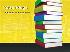 PowerPoint template displaying multi colored books stacked with education keywords in the background