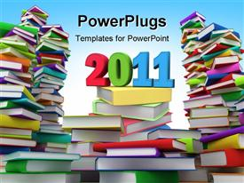 PowerPoint template displaying clored 3D year 2011 text sitting on stacks of book
