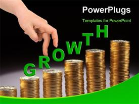 PowerPoint template displaying a representation of growth with the help of gold coins