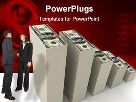 PowerPoint template displaying business man and woman shake hands next to stacks of hundred dollar bills