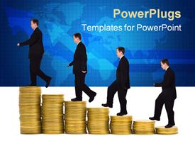 PowerPoint template displaying staircase made of stacks of golden coins with businessman climbing