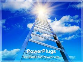Endless stairway to the blue sky with shiny sun powerpoint theme