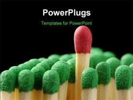 PowerPoint template displaying single red matchstick among green ones out of the crowd concept