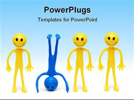PowerPoint template displaying stand out from the crowd concept with smilies in the background.