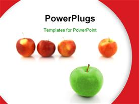 Volunteer concept. Apple standing out in a row of red apples template for powerpoint