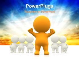 PowerPoint template displaying human character in yellow stands out from others in white with glowing sky in the background