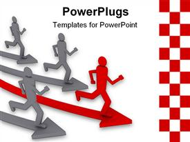 PowerPoint template displaying animated depiction of four grey and red humans running on arrows