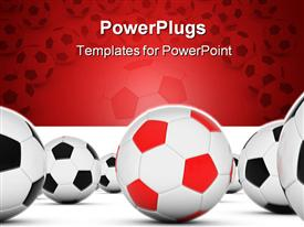 PowerPoint template displaying soccer balls with red and black with white soccer balls