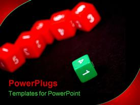 PowerPoint template displaying various colored dices with blackish background
