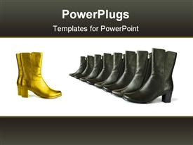 Golden (chief) and black (team) boots powerpoint template