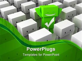 PowerPoint template displaying 3D graphics of lots of frowning characters with a smiling green one
