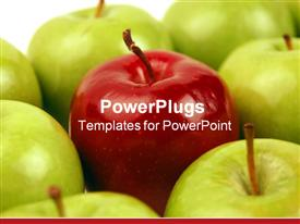 PowerPoint template displaying a number of green apples with a red one in the middle
