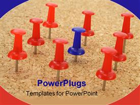 PowerPoint template displaying pushpin standing out from the crowd of other pushpins