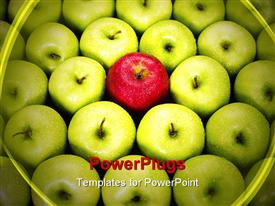 Red apple standing out from large group of green apples. Horizontal shape powerpoint template