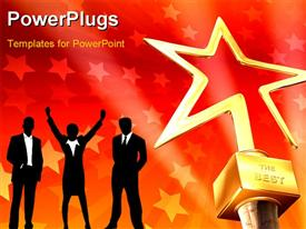 PowerPoint template displaying 3D gold star award on red-stars background with business people in silhouettes