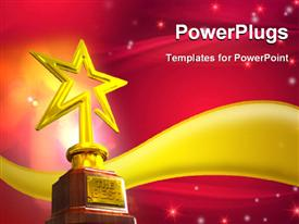PowerPoint template displaying gold star trophy placed over a golden wave with glowing stars and flares on red glowing background