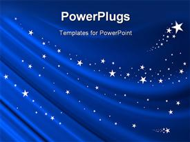 PowerPoint template displaying blue Curtain Background with White Stars
