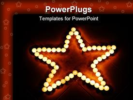 PowerPoint template displaying glowing orbs forming a star on tile floor