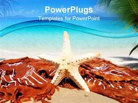 PowerPoint template displaying standing white colored star fish on a tropical beach