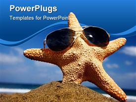 PowerPoint template displaying starfish on a sunny beach with sunglasses in the background.