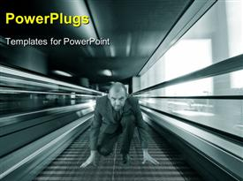 PowerPoint template displaying a man getting ready for a race on a blurry background