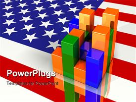 PowerPoint template displaying colorful multi-segment bar chart sitting on top of a flat reflective United States