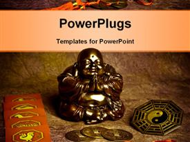 PowerPoint template displaying statue of happy Buddha, symbols of chine astrology, oriental coins of good luck, yin yang symbol in the background.