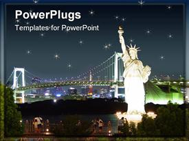 PowerPoint template displaying statue of Liberty at night with bridges and city skyline