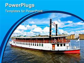 PowerPoint template displaying retro style steam boat at river Thames in the background.
