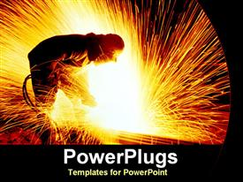 Man cutting steels with sparks flying powerpoint template