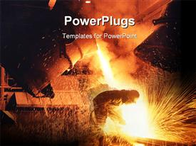 Pouring molten steel from crucible template for powerpoint