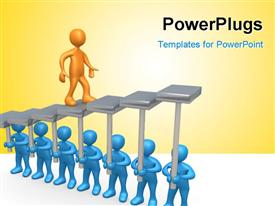 PowerPoint template displaying 3D blue colored men raise stair platform for gold plated man