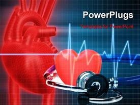 PowerPoint template displaying cadiogram pulse with red heart symbol and pair of gym dumb bells