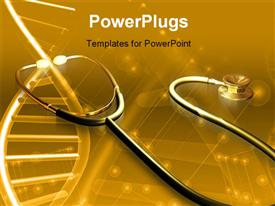 PowerPoint template displaying stethoscope and DNA sample in amber light in the background.