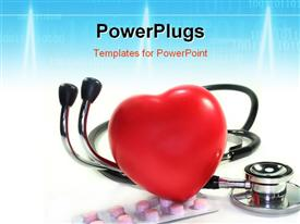 PowerPoint template displaying a large red reflective heart on a stethoscope and pills