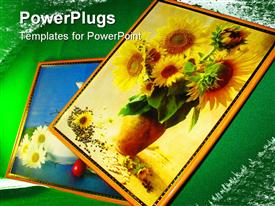 PowerPoint template displaying various paintings of flowers with green background