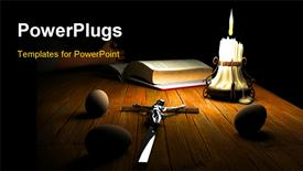 PowerPoint template displaying a table of a Christian with darkness in background