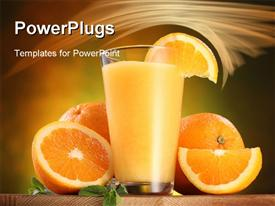 PowerPoint template displaying still life - oranges and glass of juice on a wooden table in the background.