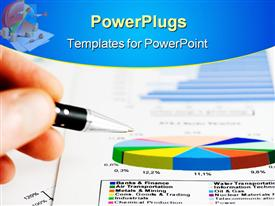PowerPoint template displaying a beautiful depiction of a business report along with a pen